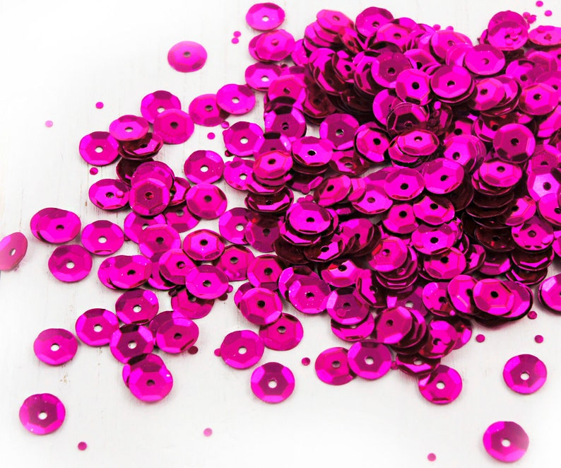 20g Metallic Fuchsia Pink Sparkling Faceted Cup Round Sequins Confetti Paillettes Sew On Brooch Embroidery 7mm