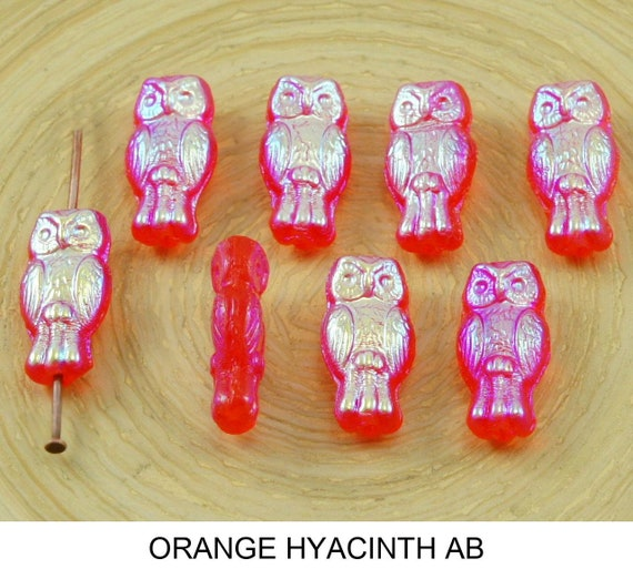 22pcs Small Crystal AB Two-Sided Czech Glass Owl Beads Bird Animal Halloween ...