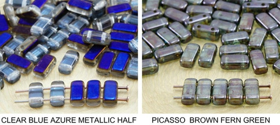 Two Tone Rectangular Czech Glass Beads size 8mm 50 Purple//Green
