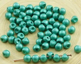 60pcs Matte Pearl Emerald Green Cotton Candy Extra Small Mushroom Button Czech Glass Beads 4mm X 3mm