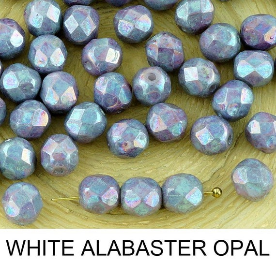 40pcs Nebula Purple Round Faceted Fire Polished Spacer Czech Glass Beads 6mm