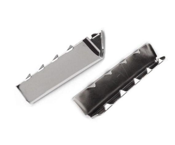 10pc Metal Webbing Belt Tip Width 30mm Cord End Caps Crimp Ends Tips Hardware...