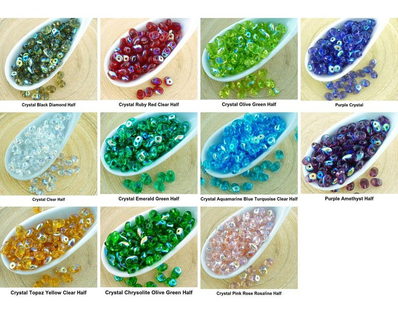 20g superduo czech glass seed beads two hole super duo 2.5mm x 5mm