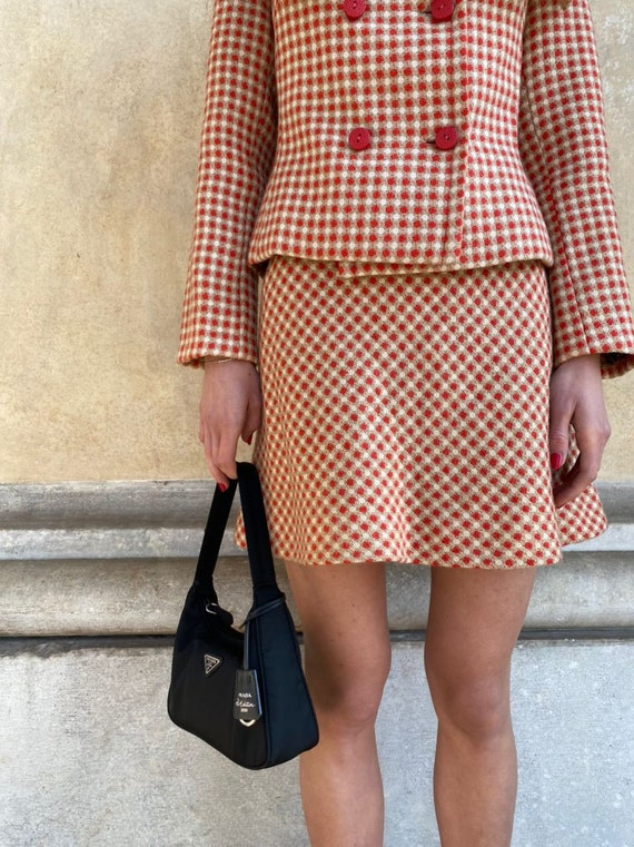 Vintage 70s two piece set plaid blazer and skirt - image 2