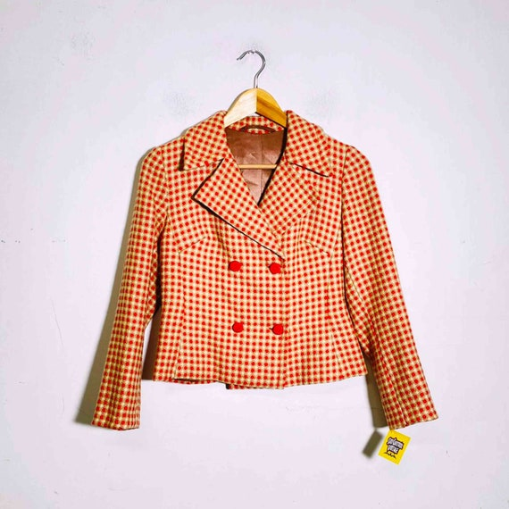 Vintage 70s two piece set plaid blazer and skirt - image 7