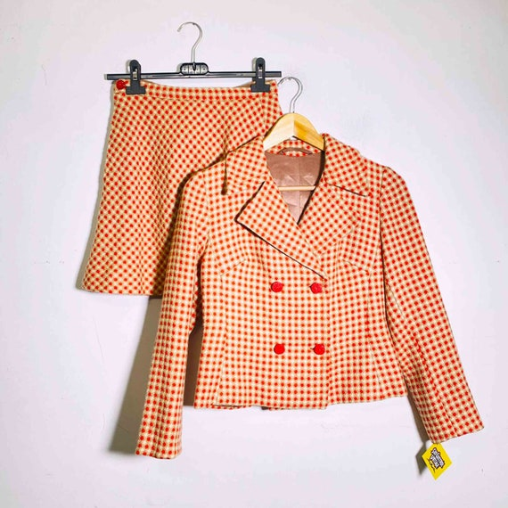 Vintage 70s two piece set plaid blazer and skirt - image 6