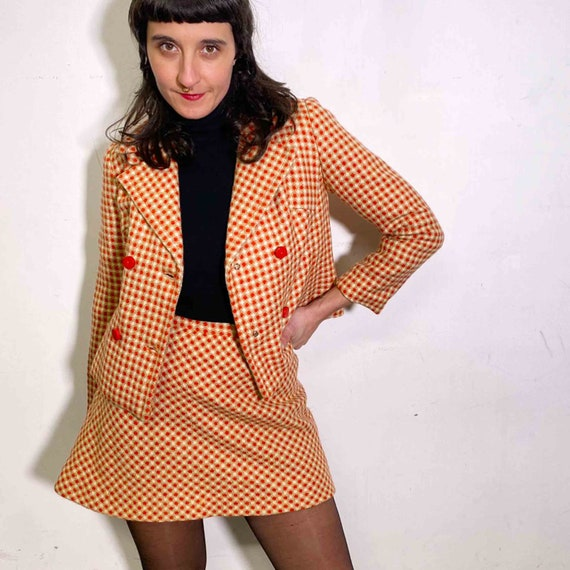 Vintage 70s two piece set plaid blazer and skirt - image 10