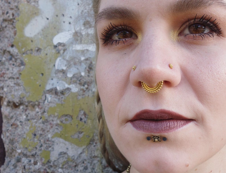 nose ring septum tragus silver plated piercing gold plated septum piercing nose piercing gold plated cartilage tribal septum small