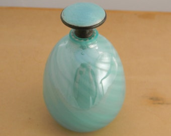 Vintage Vanity Layered Blue Glass Perfume Bottle & Gulloiche Glass Stopper