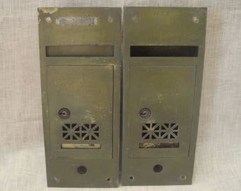 """Two Old Brass Finish Wall Mount Mailboxes Home Apartment Flats Front Slot Lock 11.25"""" x 4.75"""" 1930s-1940s"""