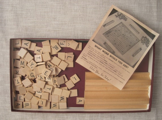Vintage 1953 Copyright Scrabble Selchow and Righter Co