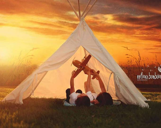 Featured listing image: Canvas Kids Teepee Tent, 5 poles, ivory. Ready to ship