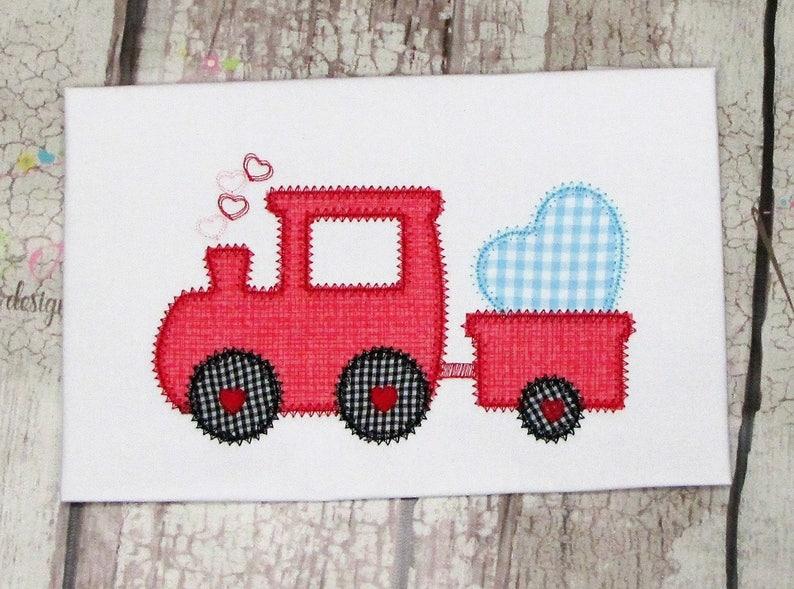 Valentine Love Train Applique Machine Embroidery Design Digital