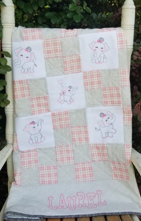 Elephant Machine Embroidery Designs Baby Quilt Pattern Pdf Etsy