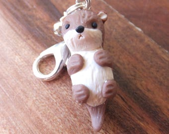 Otter Lobster Clasp Charm made from polymer clay - pendant - glass bead - brown fawn silver.