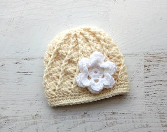 5bb175f6d24 Crochet Hat ~ Crochet Baby Beanie with Flower ~ Ivory Shell Hat ~ Baby to  Toddler Sizes - Handmade