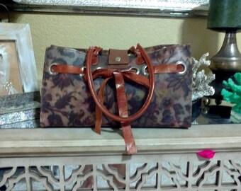 09087a2ae1a4 Vintage Claudia Firenze-shoulder tote bag brown leather PVC jelly  multicolor floral Bag Boho Shoulder Bag Small Tote Handbag Italian Bag