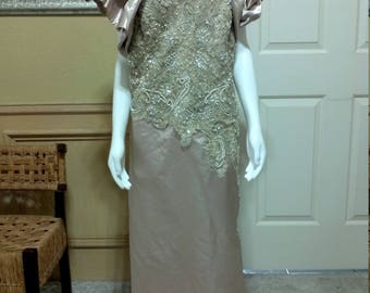 b8d6bb208ae Vintage Ivory Beaded in Sequin Dress by Eve of Milady