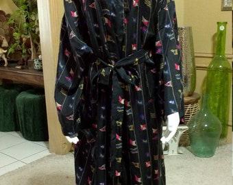 2316c712cc Silk Robe   Silk Kimono Robe   Navy Blue  Vintage Unisex Robe by RECKLESS  size M