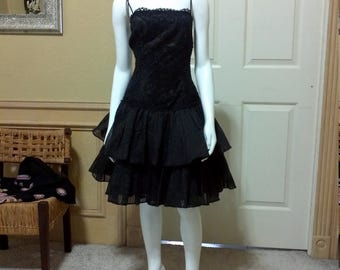 50s Style Black Lace Prom Dress