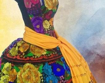 88b3d3af31dc Professional Corset Chiapas Dress/Original Hand Embroidered Folk Dress/Mexican  Ethnic Dress,Frida Kalho Dress,Costume Dress,S,M,L,XL