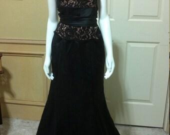 Piękny Suknia Koronkowa Granatowa Suknia Druhna Sukienka Bal Etsy
