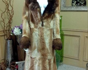 Brown Fur Coat,Black Rabbit  Winter Coat, Fur Coat, REAL rabbit Fur Coat,Boho Fur Coat,Wedding Fur coat Full Lenght Fur Coat size S/M