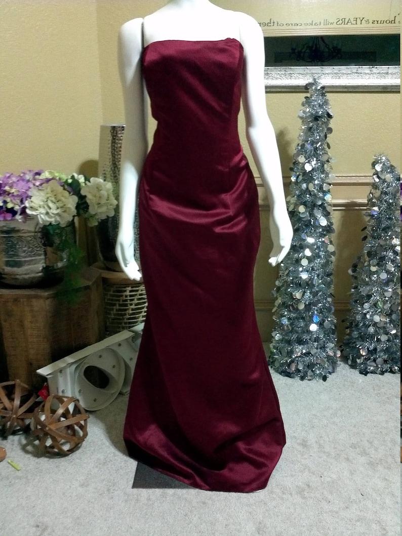 af70dc712d2 Sangria Satin Bill Levkoff Bridesmaid Dress  Wedding Guest