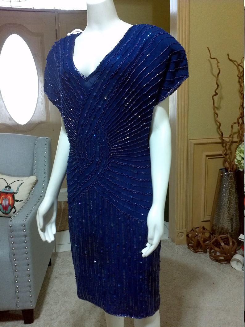 Vintage Stenay Royl Blue Glam Cocktail DressSequins Beads Flapper Gatsby open back Short Cocktail Party Holiday Dress Mad Man Dress  6S