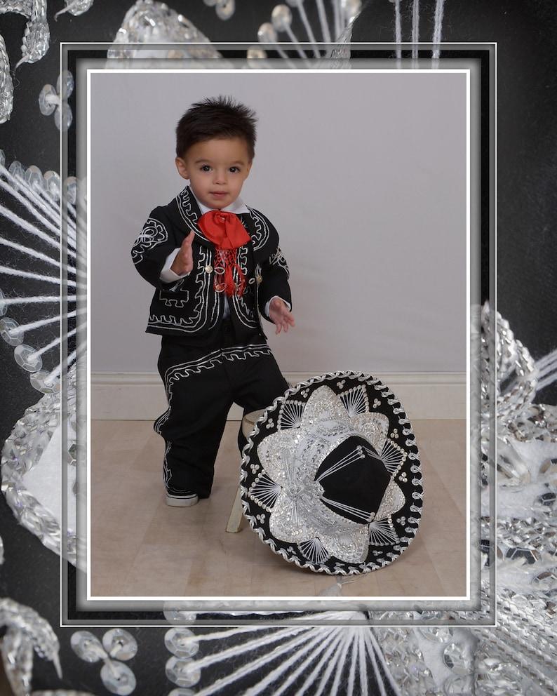 18b167dd1 Beautiful 5 pieces Boy Charro Suit Black &Silver Charro Suit | Etsy