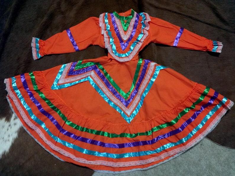 Orange Jalisco Dress Pink Jalisco Dress Vestido De Jalisco Amarillovestido Rosa De Jaliscocinco De Mayo Girl Dressson De La Negra Dress