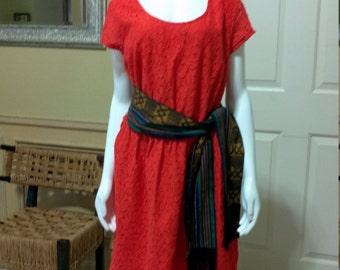 Tangerine Tango Orange Lace Sheath Dress Short Sleeves Orange Lace Dress -Short  Dress - Orange Summer Lace Dress - Lace  Dress size L/XL