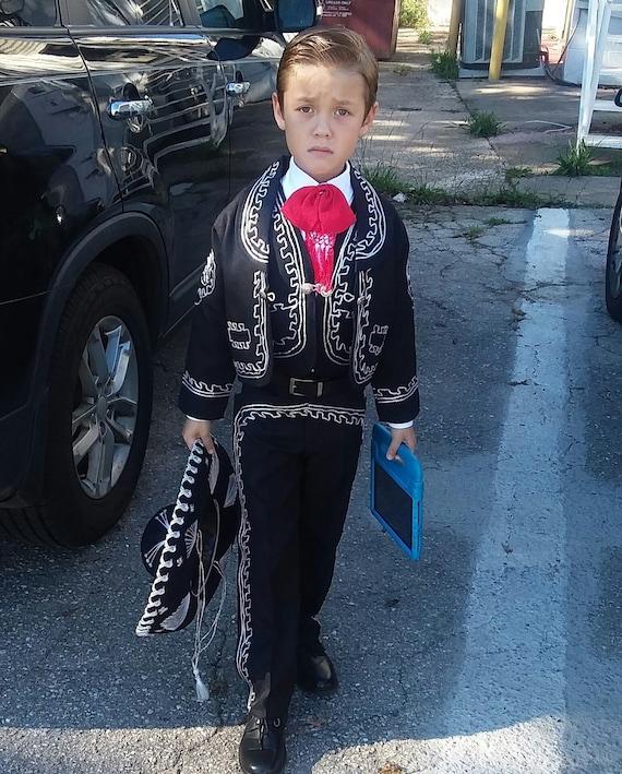 6796c3265 Beautiful 5 pieces Boy Charro Suit Black  Silver Charro Suit