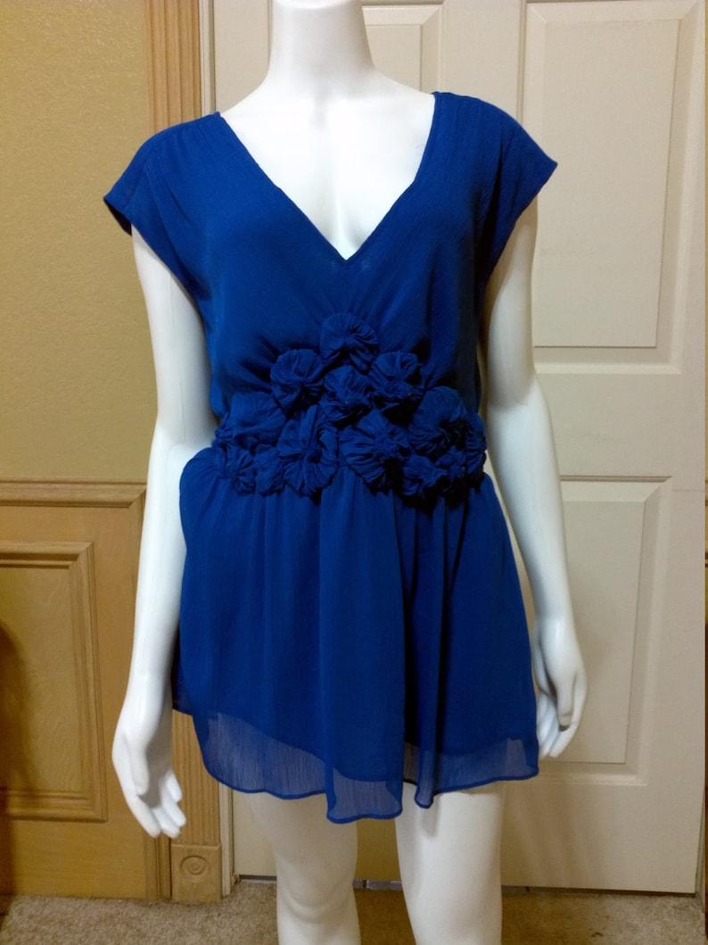 Vintage Chiffon Sleevless Royal Blue Blouse By ECI Summer Desinger Blouse Size 10