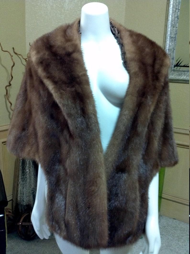 Anthony de Tatta Antique Mink Fur Wrap Real Fur CapeCapelet1960s 60s Brown Mink Fur Capelet Jacket Shrug Cape Wedding Wrap Opera Cape M