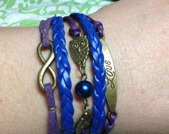 Purple & Blue Leather Charm Bracelet,Jewelry, Girl, Birthday, Gift. Charm, Braided,Owls