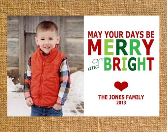 Merry and Bright - Christmas Holiday Photo Card Printable - Digital File