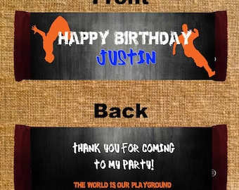 Parkour Birthday Candy Bar Wrappers - Party Favors - Digital File