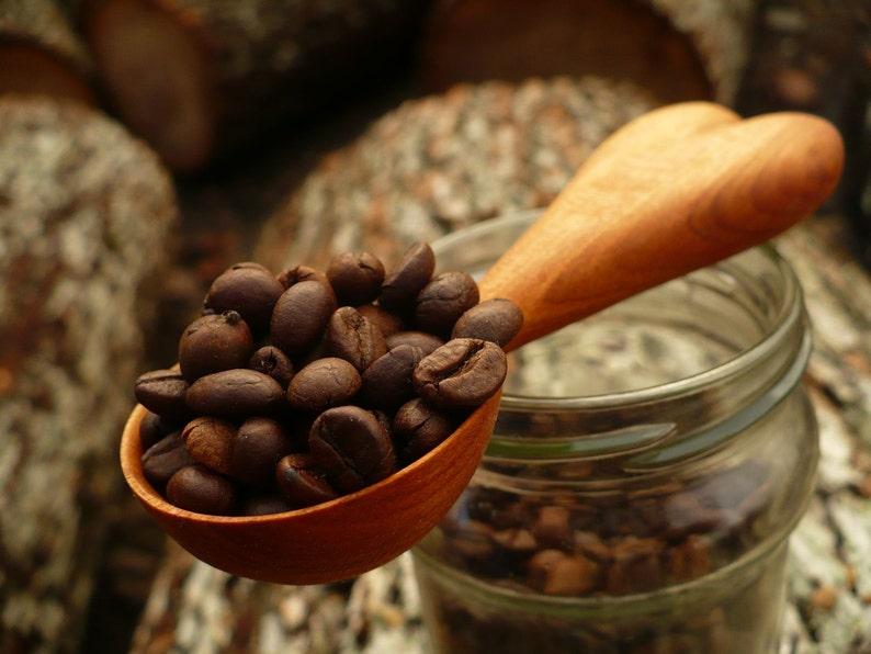 hand carved coffee scoop wooden coffee scoop Coffee scoop hand made coffee spoon HEART model of coffeee spoon plum wood coffee spoon
