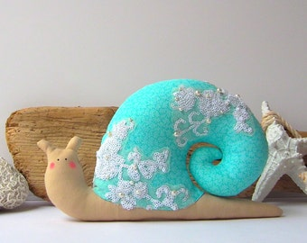 Snail toy, coastal chic home decor. Turquoise mint softie, decorative pillow. Beautiful plushie, great additional for any room. Perfect gift