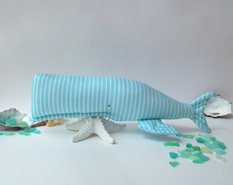Whale toy, Nautical nursery Mint whale, animal toy. Child friendly softie for a baby. Coastal style decor for any room. Baby shower gift