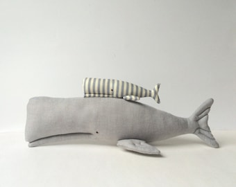 Stuffed Whales, whale toy Plush grey aquatic toys. Nautical nursery, Textile cute couple. Child friendly toys. Great gift for baby shower