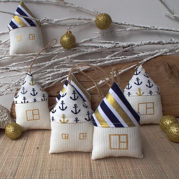 Mini Nautical Plush House Christmas Ornament Tree Decor
