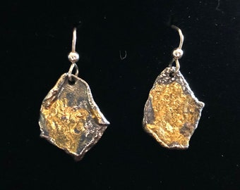 Organic reticulated sterling silver with 24ct. gold fused to silver
