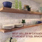 HEAVY-DUTY RECLAIMED Wood Floating Shelves + Steel Brackets Made to Order
