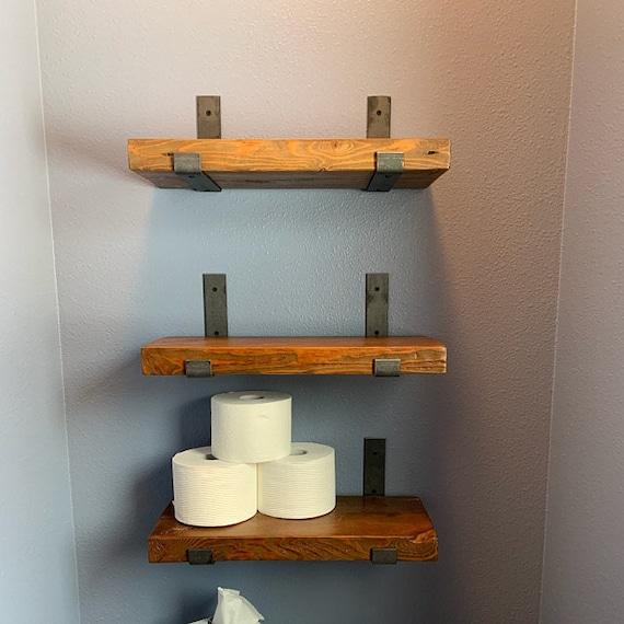 Sets Of 3 Reclaimed Wood Bathroom Shelves With 6 Handmade Etsy