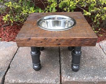 Reclaimed Wood & Iron (Medium Dog) Water or Food Feeder