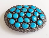 Cluster Oval Belt Buckle, Blackgoat, Navajo Silver, Turquoise Nuggets, One-of-a-kind, HAND CRAFTED BUCKLE, Sterling Silver, Boho Buckle
