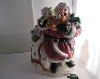 1988 Fitz and Floyd Santa Claus Cookie Jar Holiday Cookie Jar Fitz Floyd Christmas Cookie Jar Santa Claus jar Fitz and Floyd cookie jar