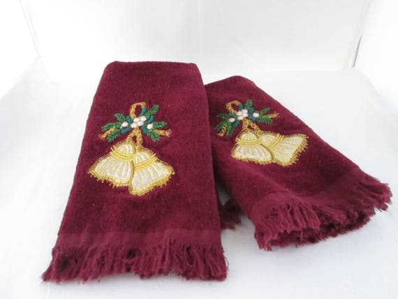 Vintage pair of christmas hand towels with applique tassels etsy